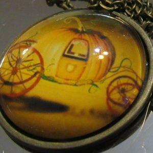 Pumpkin Carriage Halloween Necklace
